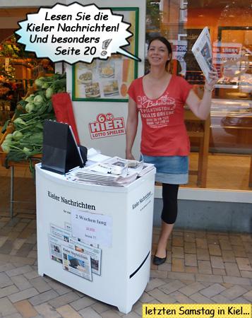 Svenja am Stand der Kieler Nachrichten